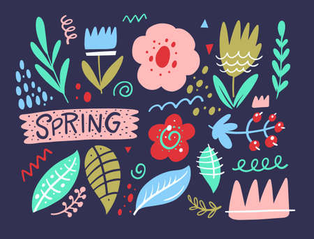 Abstract scandinavian doodle elements for Spring season. Hand drawn colorful stock vector illustration.