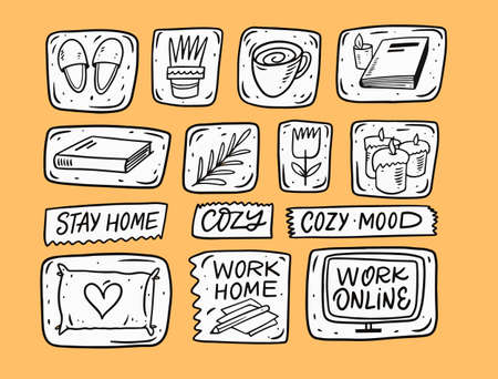 Home cozy doodle elements set. Hand drawn cartoon comic vector illustration. Stockfoto - 163161153
