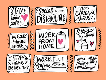 Stay home and work online phrases set. Doodle colorful vector illustration and lettering.