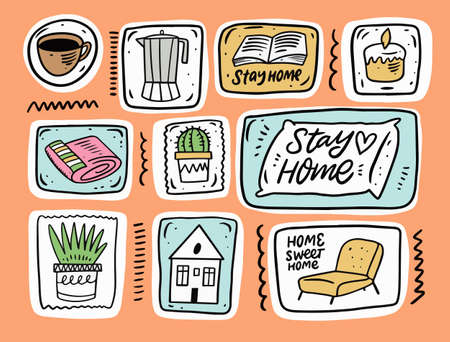 Home hygge doodle elements set. Hand drawn colorful vector illustration.