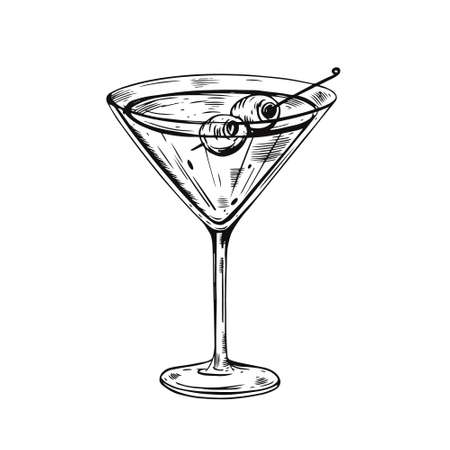 Hand drawn black color Martini cocktail. Realistic sketch vector illustration. Vectores
