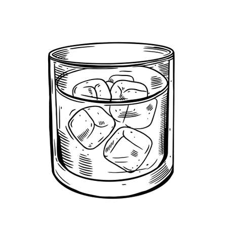 Hand drawn black color glass with ice cubes and strong drink. Rum, whiskey, vodka.