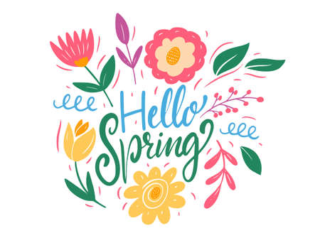 Hello Spring lettering and colorful flowers. Flat style vector illustration.