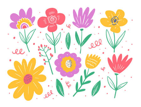 Colorful flower set. Spring season. Flat style vector illustration.