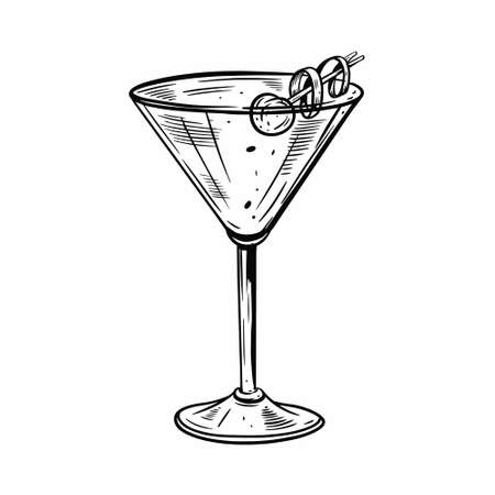 Hand drawn black color martini cocktail with olive. Vintage style.