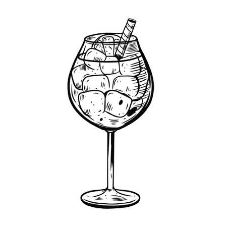 summer cocktail. Hand drawn black color vintage style. Vectores