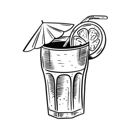 Hand drawn Long Island cocktail. Black color vintage style.