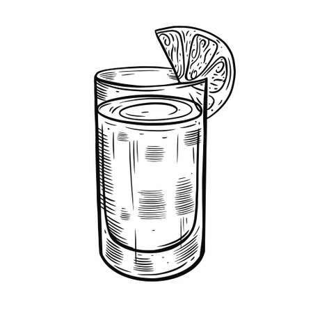 Hand drawn black color. Drink in glass with lemon slice. Vintage style. Vectores