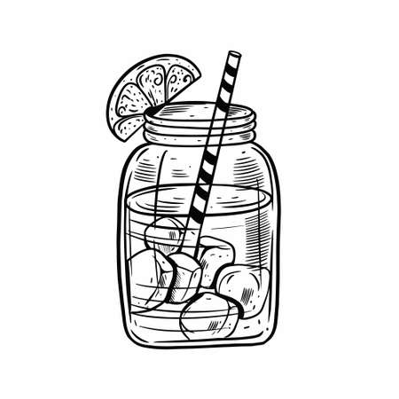 Hand drawn black color cocktail in jar. Drink with lemon, ice cubes and tube.