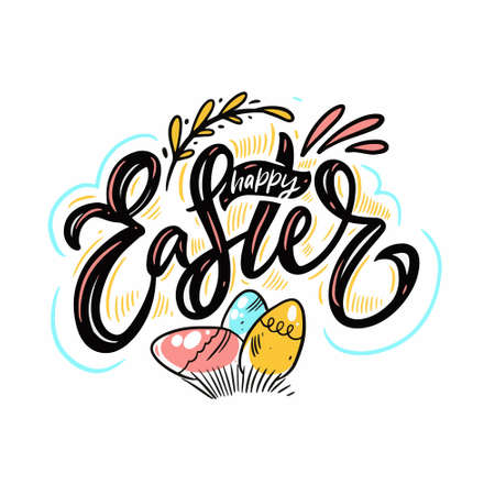 Happy Easter holiday phrase. Modern lettering. Vector illustration.