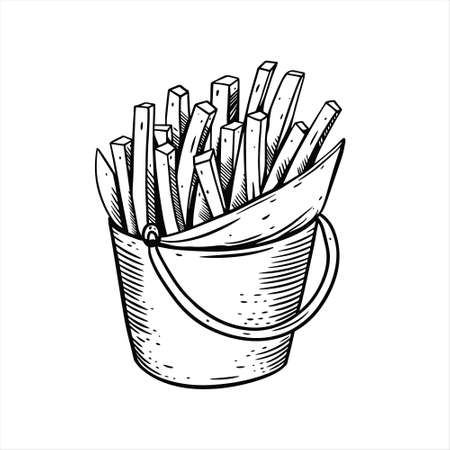 French fries hand drawn sketch. Black color vintage style.