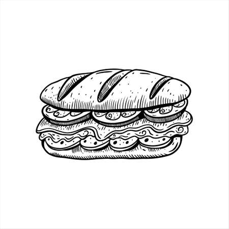 Sandwich hand drawn sketch. Black color vintage style.
