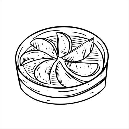 Chinese food dim sum. Black color hand drawn sketch.