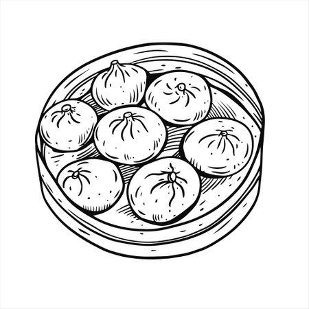 Dim sum. Hand drawn sketch. Vintage style. Black color vector illustration.