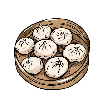 Chinese food dim sum. Hand drawn sketch. Vintage style. Vectores