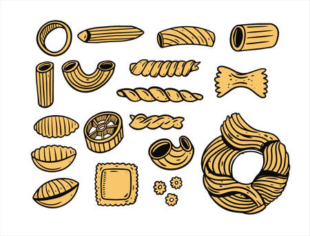Italy different Pasta doodle set. Black and yellow colors. Vintage style.