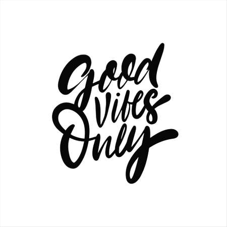 Good Vibe Only phrase. Hand drawn black color lettering. 일러스트