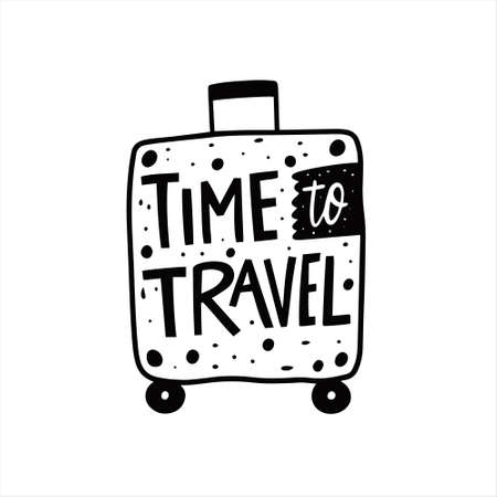 Time to travel phrase. Hand drawn black color lettering. 일러스트