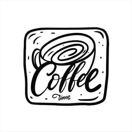 Coffee time phrase. Hand drawn black color lettering. 일러스트