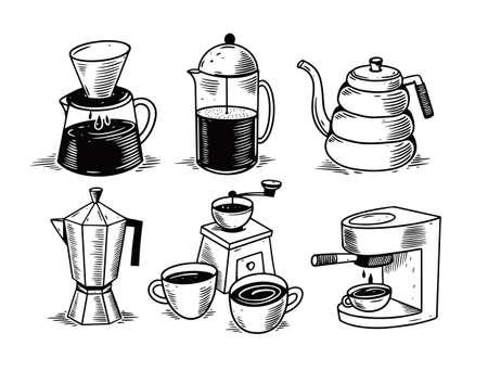 Barista coffee tools doodle set. Hand drawn black color sketch. 일러스트