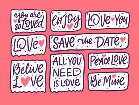 Love many phrases set. Hand drawn doodle lettering. Vector illustration.