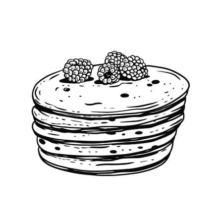 Pancakes with raspberries. Hand drawn black color vintage style.