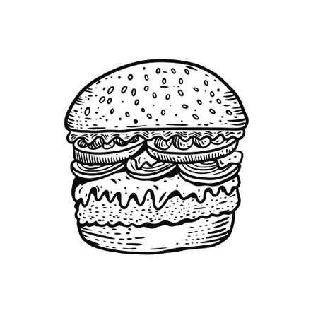 Hand drawn black color burger. Realistic vintage style.