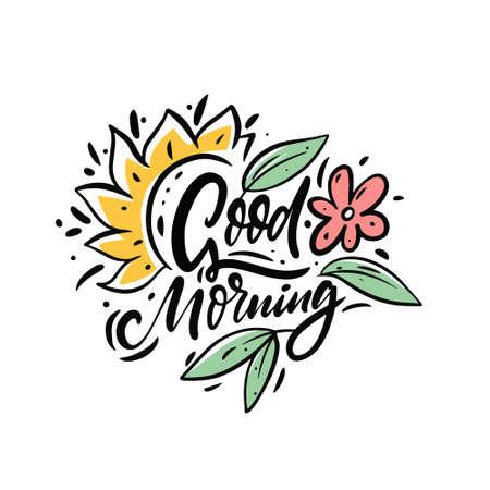 Good morning phrase. Hand drawn colorful vector illustration. 일러스트