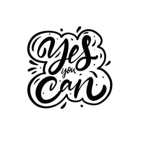 Yes you can phrase. Hand drawn black calligraphy text. 일러스트