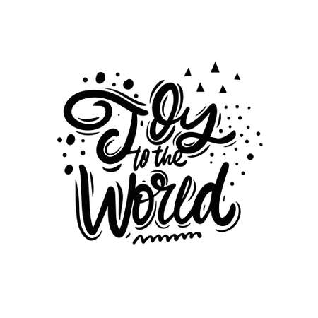 Joy to the world. Christmas phrase. Black color lettering. 일러스트