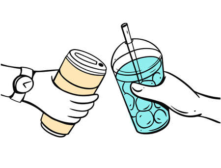 Summer drinks in hands. Hand drawn colorful outline style. 일러스트