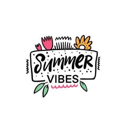 Summer Vibes lettering phrase. Hand drawn colorful vector illustration.