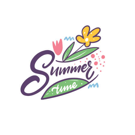 Summer time colorful sketch. Hand drawn calligraphy style. 일러스트