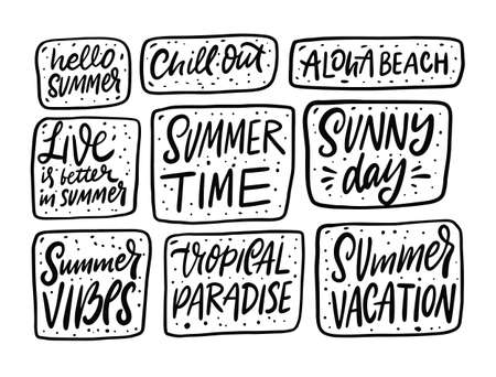 Summer phrases big set. Hand drawn black color lettering. Doodle sketch. 일러스트