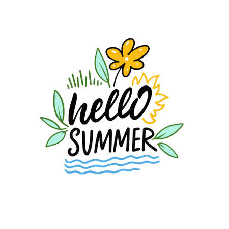 Hello Summer phrase. Hand drawn colorful lettering.