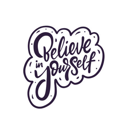 Believe in yourself phrase. Hand drawn black color calligraphy. 일러스트