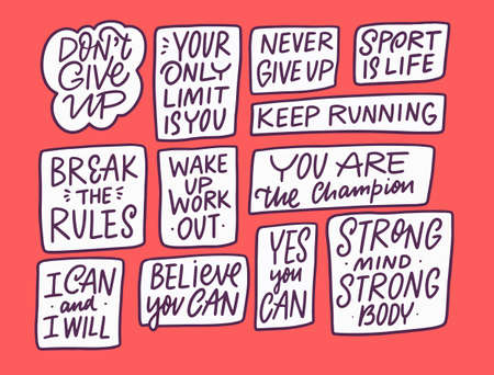 Sport lettering phrases set. Hand drawn calligraphy colorful vector illustration.