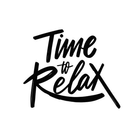 Time to relax. Hand drawn black color lettering phrase. Vector illustration.