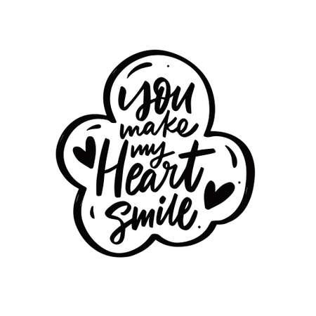 You make my heart smile. Hand drawn black color lettering phrase. 矢量图像