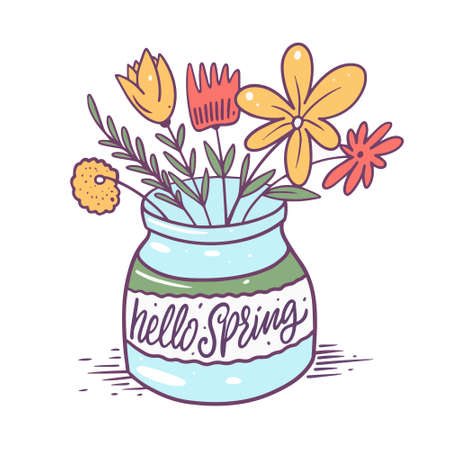 Hello Spring lettering and flower colorful in glasses. Hand drawn vector illustration. 矢量图像