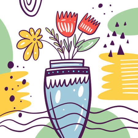 Spring flowers in a vase. Hand drawn colorful vector illustration.