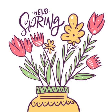 Hello spring lettering phrase and hand drawn colorful flowers in a vase.