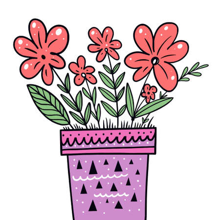 Pink flowers in violet pot. Hand drawn colorful vector illustration. 矢量图像