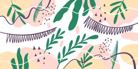 Hand drawn tropical scandinavian abstract shapes. Colorful vector illustration.