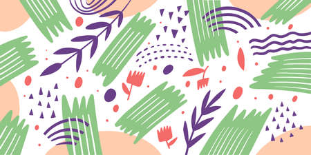Abstract shapes elements. Colorful floral composition. Hand drawn vector illustration. 矢量图像