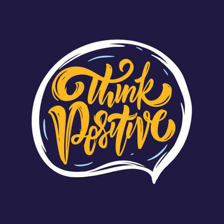 Think positive. Yellow color calligraphy. Motivation text. Vector illustration. Illusztráció