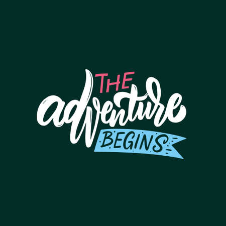 The adventure begins. Hand drawn colorful calligraphy phrase. Motivation lettering text. Stock Illustratie