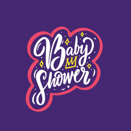 Baby shower colorful calligraphy phrase. Motivation lettering text. Stock Illustratie