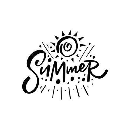Summer text. Hand drawn black color lettering. Vector illustration.