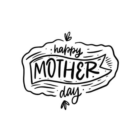 Happy Mother Day. Hand drawn black color lettering celebration phrase. Vector illustration. Stock Illustratie